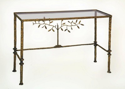 Giacometti Tree of Life Glass Top Console