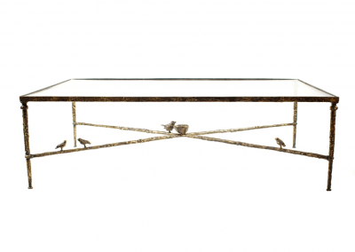Giacometti bronze coffee table with birds