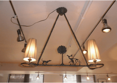 Giacometti Bronze Chandelier with Tree